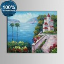100% Hand Painted Abstract Mediterranean Landscape Oil Painting on Canvas (DK-JX-YH031)