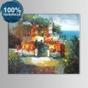 100% Hand Painted Abstract Mediterranean Landscape Oil Painting on Canvas (DK-JX-YH035)