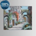100% Hand Painted Abstract Building Oil Painting on Canvas (DK-JX-YH034)
