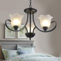 3-Light Black Wrought Iron Chandelier with Glass Shades (DK-8019-3)