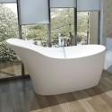67 In Slipper Man-made Stone Freestanding Bathtub - Matte White (DK-HA8613)
