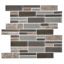 14.2 in. x 11.8 in. Glass and Stone Blend Strip Mosaic Tile - 8mm Thickness (DK-AD805056)