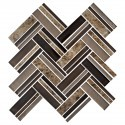 12.4 in. x 13.8 in. Glass and Stone Blend Strip Mosaic Tile - 8mm Thickness (DK-8NF0606-006)