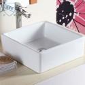 Decoraport White Square Ceramic Above Counter Basin (CL-1044)