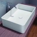 White Rectangular Artificial Stone Above Counter Bathroom Vessel Sink (DK-HB9009)