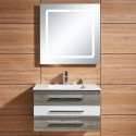 31 In. Wall Hung Bathroom Vanity Set with Single Sink and LED Mirror (DK-669800)
