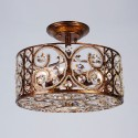 Iron & Crystal Built 3-Light Semi-Flush Ceiling Light/Diameter 13 Inch with Spanish Bronze Surface (96001203-3)