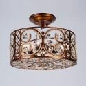 Iron & Crystal Built 3-Light Semi-Flush Ceiling Light/Diameter 13 Inch with Spanish Bronze Surface (96001203-3)
