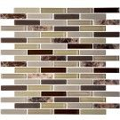 12 in. x 12 in. Glass/Stone Blend Strip Mosaic Backplash Tile - 8mm Thickness (AD806026)