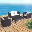 4-Piece PE Rattan Sofa Set: Loveseat, 2 Lounge Chairs, Coffee Table (LLS-302)