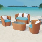 4-Piece PE Rattan Sofa Set: Loveseat, 2 Lounge Chairs, Coffee Table (LLS-311-1)