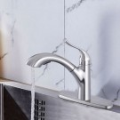 Brushed Nickel Finished Brass Kitchen Faucet - Pull Out Spray Head (82H22-BN)