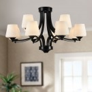 12-Light Black Wrought Iron Chandelier with Cloth Shades (DK-8025-8+4)