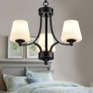 3-Light Black Wrought Iron Chandelier with Cloth Shades (DK-8025-3S)
