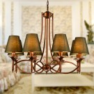 8-Light Gold Wrought Iron Chandelier with Cloth Shades (DK-006-8)