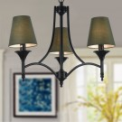 3-Light Black Wrought Iron Chandelier with Cloth Shades (DK-006-3)
