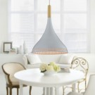 1-Light White Aluminum/Wood Modern Pendant Light (HKP31436-1)