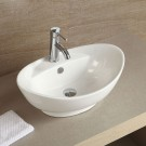 Decoraport White Oval Ceramic Above Counter Vessel Sink (CL-1038)