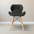 Belleze PU Leather Upholstered Side Chair in Grey (T828E004-BK)