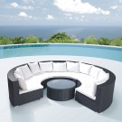 4-Piece PE Rattan Sofa Set: 3 Curved Corner Sofas, Coffee Table (LLS-323)