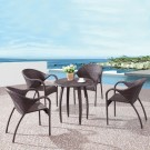 PE Rattan 5 Pieces Dining Set: Dining Table, 4 Chairs (LLS-6153+1153)
