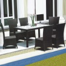 PE Rattan 7 Pieces Dining Set: Dining Table, 6 Chairs (LLS-6055+1055)
