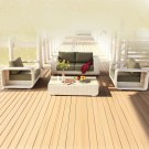 4-Piece PE Rattan Sofa Set: Loveseat, 2 Lounge Chairs, Coffee Table (LLS-P43)