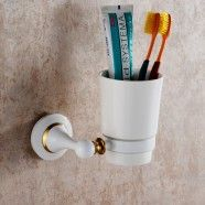 Round Tumbler Holder - White Painting Brass (80358D)