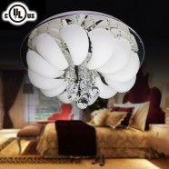 Glass & Crystal Built Modern Style 4-Light Round Ceiling Light Fixture/Diameter 18 Inch (HX8041)
