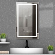 DECORAPORT 20 x 32 Inch  LED Single Door Smart Mirror Cabinet, Touch switch, Anti-fog, Dimmable light, Tri-color light, Memory function, Clock display, Built-in sensor light, Socket, USB port(G101-2032)