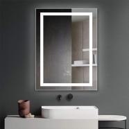 DECORAPORT 24 x 32 Inch  LED Single Door Smart Mirror Cabinet, Touch switch, Anti-fog, Dimmable light, Tri-color light, Memory function, Clock display, Built-in sensor light, Socket, USB port(G102-2432)