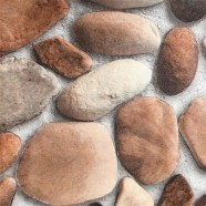 Cobblestone Wallpaper / Rustic Cobblestone PVC Room Wall Decoration (57 sq.ft/Roll) (DK-SE457001)