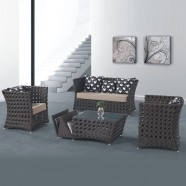 4-Piece PE Rattan Sofa Set: Loveseat, 2 Lounge Chairs, Coffee Table (LLS-233)