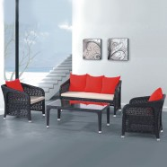 4-Piece PE Rattan Sofa Set: Loveseat, 2 Lounge Chairs, Coffee Table (LLS-279)