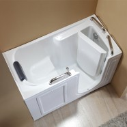 53 x 26 In Walk-in Soaking Bathtub - Acrylic White with Right Drain (DK-Q373-R)
