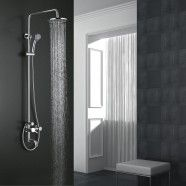 Rain Shower Head & Bathtub Faucet - Brass with Chrome Finish (8229)