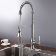 Brushed Nickel Finished Brass Kitchen Faucet - Pull Out Spray Head (82H05-BN)