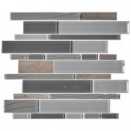 14.2 in. x 11.8 in. Glass and Stone Blend Strip Mosaic Tile - 8mm Thickness (DK-8NF0305-007)