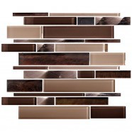 14.2 in. x 11.8 in. Glass and Stone Blend Strip Mosaic Tile - 8mm Thickness (DK-AD808090)