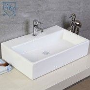 Decoraport White Rectangle Ceramic Above Counter Vessel Sink (CL-1099)