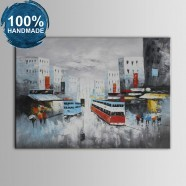 100% Hand Painted Streetscape Oil Painting on Canvas (DK-JX-YH019)