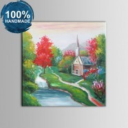 100% Hand Painted Abstract Landscape Oil Painting on Canvas (DK-JX-YH051)