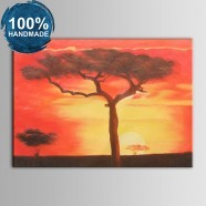 100% Hand Painted Abstract Sunset Glow Oil Painting on Canvas (DK-JX-YH047)