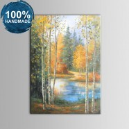 100% Hand Painted Abstract Forest Oil Painting on Canvas (DK-JX-YH044)