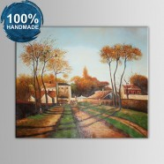 100% Hand Painted Village Landscape Oil Painting on Canvas (DK-JX-YH041)