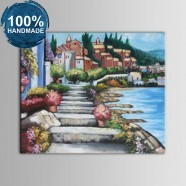 100% Hand Painted Abstract Mediterranean Landscape Oil Painting on Canvas (DK-JX-YH038)
