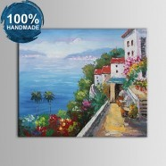 100% Hand Painted Abstract Mediterranean Landscape Oil Painting on Canvas (DK-JX-YH037)