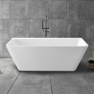 63 In Back to Wall Freestanding Bathtub with Drain - Acrylic White (DK-13673)