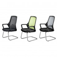 3 Colors/Black Mid-Back Mesh Conference Chair with arm and sled base (YH001B)
