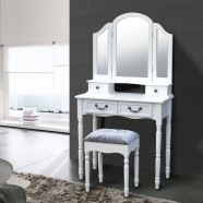 Bedroom Makeup Vanity Set with Mirror and Stool (JI13009-1)
